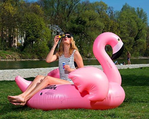 MunichStandard Flamingo XXL Badeinsel Schwimminsel Badespielzeug Luftmatratze Aufblasbar Badespaß für Kinder und Erwachsene
