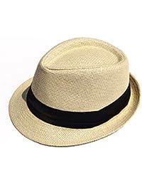 Leisial Panama de Paille Casquettes visières Anti-soleil Respirant Anti UV Chapeau de Paille pour été plage loisirs Voyage