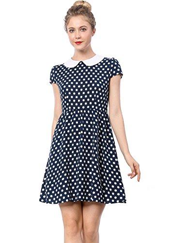 Allegra K Damen A-Linien Kurzarm Polka Dots Knielang Bubikragen Kleid Blau S (EU ()