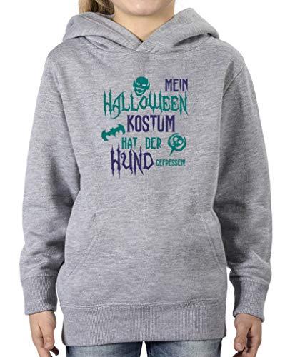 Halloween Kostuem hat der Hund gefressen - Mädchen Hoodie - Grau/Türkis-Lila Gr. 152/164 ()