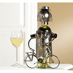 Gilde Flaschenhalter 'Lady mit Fahrrad', 20 cm