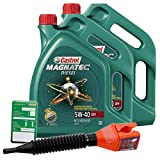 2x 5 L = 10 Liter Castrol Magnatec Diesel 5W-40 DPF Motor-Öl inkl. Ölwechsel-Anhänger und Einfülltrichter