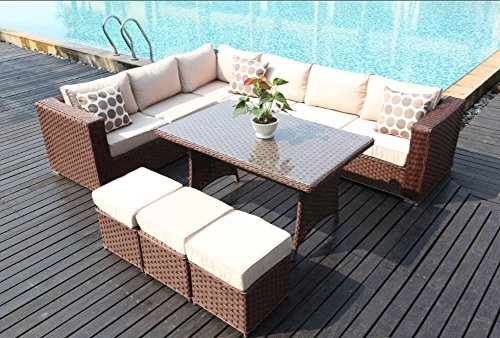 Yakoe 50118 2017 Papaver 9 Seater Corner Sofa Dining Rattan ...