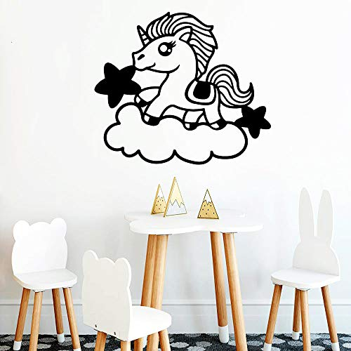 Geiqianjiumai Unicorn romantische natürliche dekorative Applikation Vinyl Wandaufkleber Küchentapete Kinderzimmer kreative Aufkleber schwarz XL43cmX49cm
