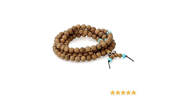 8 mm African Turquoise Bouddhiste Perle Bracelet Poignet Tibet Silver Bless Mala