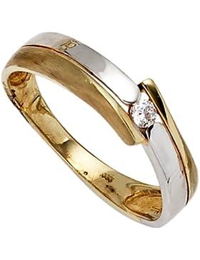JOBO Damen-Ring 333 Gold Gelbgold Weißgold kombiniert teilmattiert 1 Zirkonia