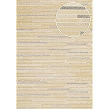 Empapelado aspecto piedra azulejos Atlas ICO-6705-5 papel pintado no tejido liso de aspecto piedra efecto satinado beige blanco-crema bronce 5,33 m2
