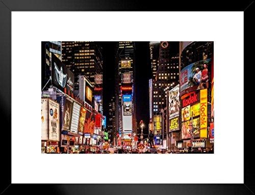 Gießerei Poster Times Square New York City NYC Bei Nacht Foto Kunstdruck von proframes 26x20 inches Matted Framed Poster