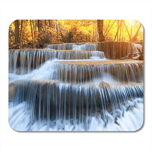 Luancrop Mausunterlage Landschaft Huay Mae Kamin Wasserfall schön im Regenwald bei Mousepad für Notizbücher, Tischrechner-Mausunterlagen, Bürozubehöre (Kamin Wasserfall Und)