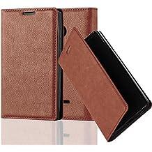 Nokia Lumia 435 Funda Estilo Libro de Cuero Sintético en MARRÓN CAPUCHINO de Cadorabo (Diseño IMÁN INVISIBLE) – Cubierta Protectora con Cierre Magnético, Tarjetero y Función de Suporte – Protección Carcasa Caja Etui Case Cover