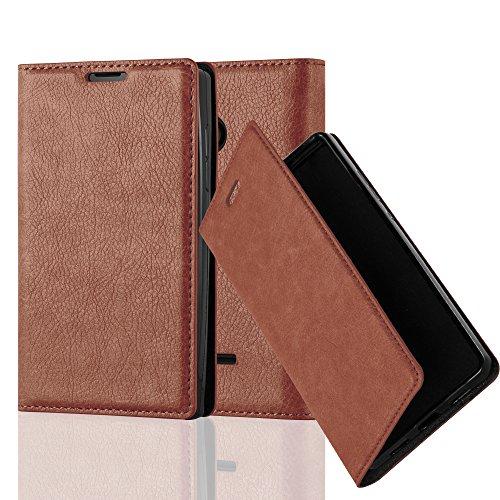 Cadorabo Hülle für Nokia Lumia 435 - Hülle in Cappuccino BRAUN – Handyhülle mit Magnetverschluss, Standfunktion und Kartenfach - Case Cover Schutzhülle Etui Tasche Book Klapp Style