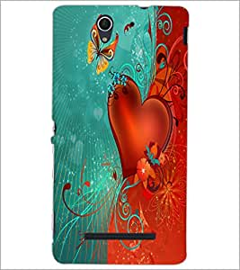 PrintDhaba Butterfly and Heart D-2304 Back Case Cover for SONY XPERIA C3 (Multi-Coloured)