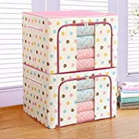 Bestllin Storage Box,Collapsible Storage Bin - Foldable Stackable Storage Box, Cube with Handles, Double Zipper and Clear Windows - for Clothes, Blanket or Toys, Household Items Organizer