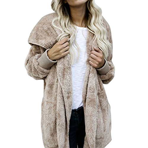Bekleidung Vovotrade ❀❀ Damen Winterjacke Mantel mit Kapuze Faux Pelzmantel Warm Parka Outwear (Size:XL, Beige)