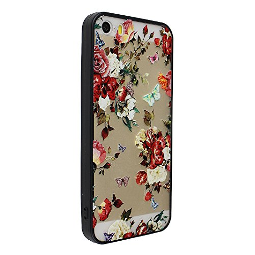 iPhone SE/5/5S 2 in 1 Hybrid Tasche, iPhone SE Hülle Silikon, iPhone 5S Hülle Silikon, iPhone 5 Hülle Silikon, Moon mood® Soft TPU + Hart PC Case [ 2 in 1] Relief Schutzhülle für Apple iPhone 5/5S/SE  Stil - 2