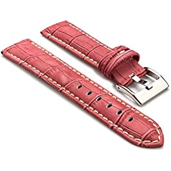 StrapsCo Premium Pink Croc Embossed Leather Watch Strap size 28mm