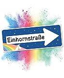 Einhhorn Schild - Einhornstraße Blau (40 x 15cm), Süße Wand-Deko, Türschild für Mädels-Wohnung, Mädchen-Zimmer, Geschenkidee Einweihungsparty - Geburtstags-Geschenk, Lustige Überraschung - beste Freundin