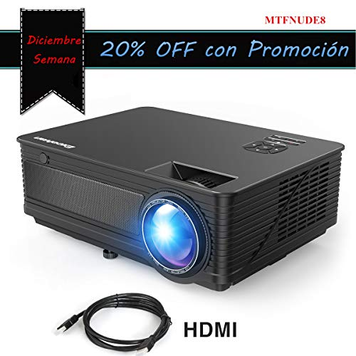 """Proyector LED 1080P Full HD Excelvan M5 2018 Actualizado 3500 Lumenes 200"""" Mini Proyector con HDMI para iPhone / Android / PS / PC / TV Box Mini Proyector Cine en Casa Ideal para Movil"""