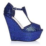 Enya scarpe blu glitter con zeppa molto alta e aperte sulla punta - Blu glitter, Scamosciate, 39 EU