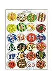 Heitmann Deco Adventskalender Buttons - 24 Zahlen für Adventskalender DIY - zum Anstecken an Filz und Stoffsäckchen