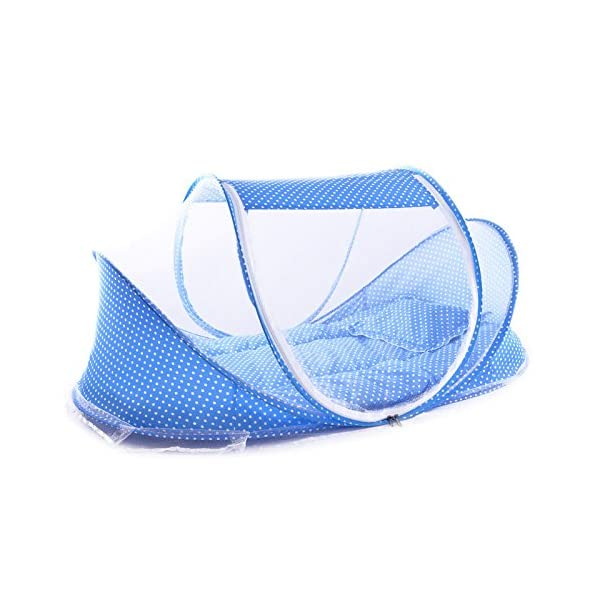 Baby Crib Mosquito Net, Foldable Baby Crib With Mosquito Net Portable 0-3 Years Bedding Bed Cotton Sleep Travel Beds Cribs Pillow Mat Seat Set (Blue) PerGrate ❤ Baby mosquito bed including mattress, baby pillow and mosquito net. It is better for 0-3 years old baby,Suitable for infants under 90cm height(The product length is 110cm) ❤ It is Soft, comfortable and can prevent baby dropping down the floor, it also can prevent your baby from dust. Perfect for outdoors, it also can use for indoors ❤ The Material is Breathable mesh and Cotton which provides a virus free environment while keeps the air flowing and your baby dry 7