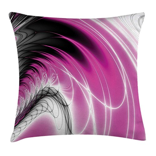 ZMYGH Fractal Throw Pillow Cushion Cover, Digital Dynamic Energy Flows Inspired Artisan Fantasy Shapes Computer Print, Decorative Square Accent Pillow Case Magenta Black 18x18inches