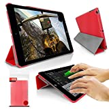 Orzly® - SlimRim per Apple iPad Mini 4 - CUSTODIA con SUPPORTO integrato - ULTRA SLIM Smart Stand Case - COPERTURA con SONNO-SENSORI INTEGRATI e Coperchio Magnetico in ROSSO