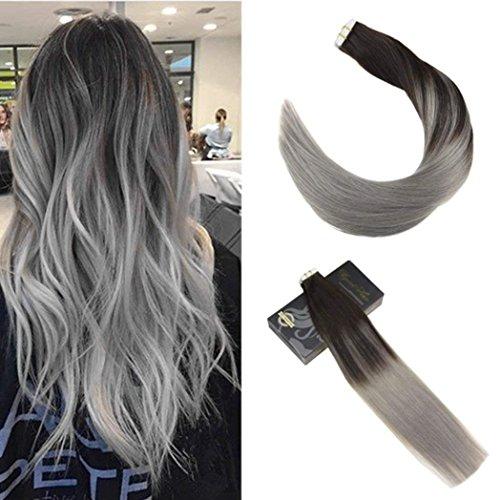 Ugeat 55cm liscio capelli umani di alta qualita tape extensions capelli veri 50g/20pcs remy capelli colorati fuori dal nero e grigio #1b/silver
