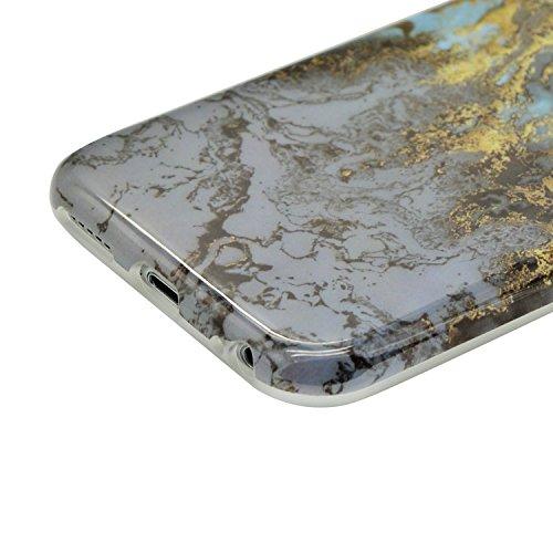Sunroyal Coque iPhone 8 Coque Housse Case Bumper Étui Coque de Protection en TPU Silicone Ultra Slim Mince Léger Antichoc Housse Case Coque Dessin Marbre Souple Motif Marbre Grain Soft Case Arrière av Motif 14