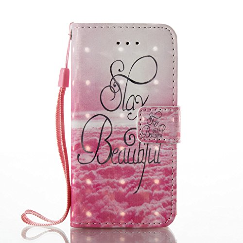 iPhone 5S Hülle , Tasche für iPhone SE Premium 3D Blume Geldbeutel Kunstleder Flip Taschenhülle Handytasche Rückseite Schale für Apple iPhone 5 / 5S / SE Bling Magnetverschluss Kartenfächer Klapptasch Rosa 2