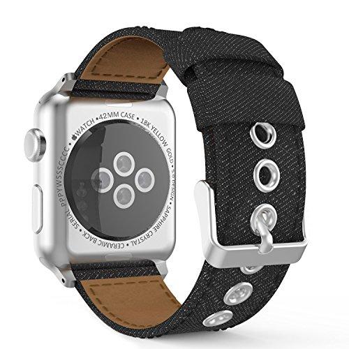 Preisvergleich Produktbild MoKo Armband für Apple Watch Series 1 / 2 42mm, Denim Sportarmband Uhrenarmband Uhr Erstatzband mit Schließe für Apple Watch Sportuhr 42mm 2016 & 2015, Armbandlänge 135mm - 205mm, Denim Schwarz