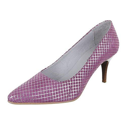 Damen Schuhe, 5453, Pumps, Leder High Heels, Wildleder, Lila, Gr 41 (Lila Wildleder)