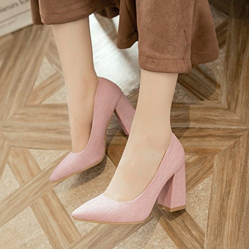 Aisun Damen Elegant Spitz Zehen Low Cut Hoher Blockabsatz Ohne Verschluss Pumps Pink
