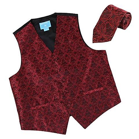EGD1B05A-L Dunkelrot Schwarz Paisley Microfiber Weihnachten Tuxedo Weste Neck Tie Set Inspire F¨¹r Party Von Epoint