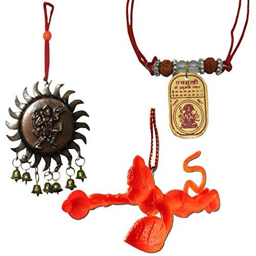 Divya Mantra Sri Panchamukhi Hanuman Kawach Yantra Locket, Vastu Hanuman with Bells and Orange Flying Hanuman Car Mirror Hanging Decoration Accessories Combo Set  available at amazon for Rs.249