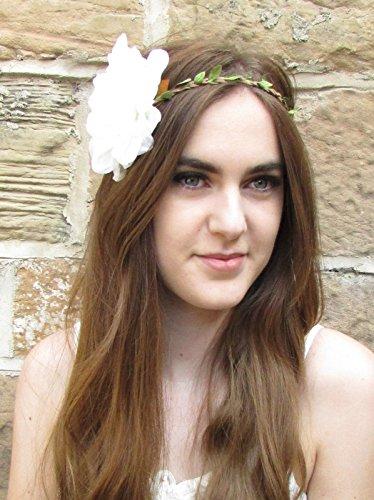 Grande fleur dahlia Blanc Ivoire Bandeau élastique de plage Ibiza Festival Rose 69 * * * * * * * * exclusivement vendu par - Beauté * * * * * * * *