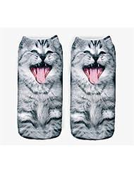 Femenina Modelos 3d patrón de calcetines calcetines para niños de impresión (gato, Gris)