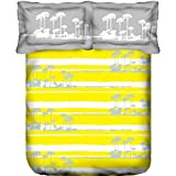 Trident Designer Solid,Traditional, Floral 100% Cotton Double Bed Sheet With 2 Pillow Covers- Yellow,White & Grey