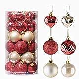 Valery Madelyn 35 TLG 5CM bruchsicher Weihnachtskugeln Kunststoff Luxus Rot und Gold mit Herz Christbaumkugeln und Aufhänger Weihnachtsbaumschmuck Weihnachtsdekoration