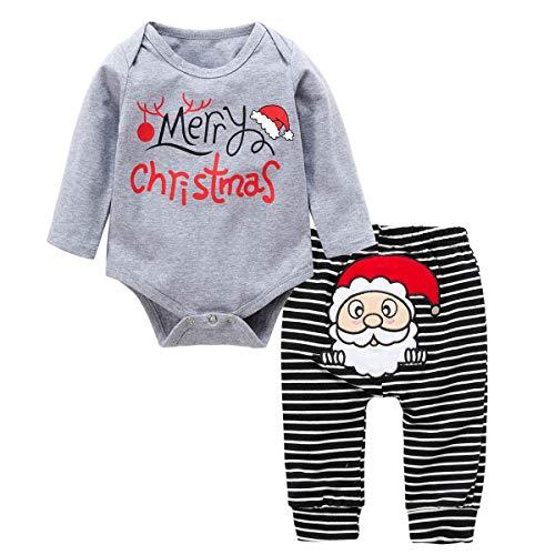 Baywell Baby Kleinkind Jungen Grils Kleider Set, Weihnachten Outwear Langarm Spielanzug & Gestreifte Hosen (L/90/18-24 Monate, Grau) Adorable Set Hose Shirt