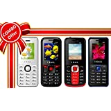 I KALL 1.8 Inch Display Dual Sim Mobile Combo Power Pack Of FOUR Multimedia Mobile-K66 White+ K16 Red+ K99 Red+ K20 Blue