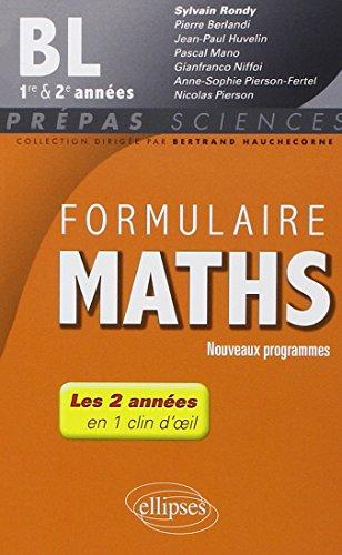 Formulaire Maths BL 1re et 2e années