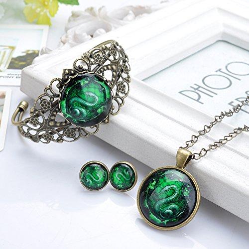 lureme® Temps Gem Series Simple Vintage Style Pendant Collier Stud boucles d'oreilles Bracelet Parures(SET004) vert Snake