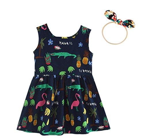 OPUSS 1 stücke Kinder haarnadel, 1 stücke Mädchen Sommerkleider Mädchen Ärmelloses Muster Kleid