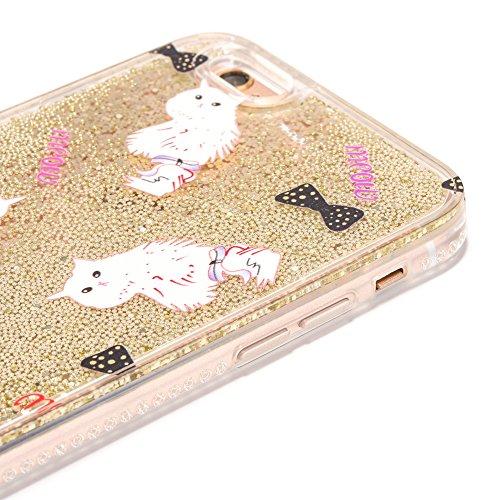iPhone 6/6S 4.7 Hülle, Voguecase Silikon Schutzhülle / Case / Cover / Hülle / TPU Gel Skin für Apple iPhone 6/6S 4.7(Perlen Treibsand-born to shine-Pink) + Gratis Universal Eingabestift Perlen Treibsand-MEOW 01-Gold