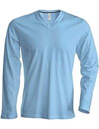 66e0821d586cd Kariban - Camiseta de Manga Larga para Hombre con V-Cuello hasta la Talla  4XL