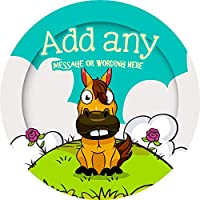 Horse Sticker Labels (24 Stickers, 4.5cm Each) Personalised Seals Ideal for Party Bags, Sweet Cones, Favours, Jars, Presentations Gift Boxes, Bottles, Crafts