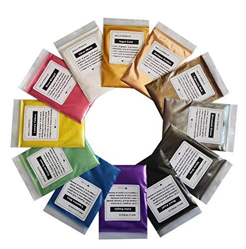 VITORY reines mica (12 Farben 10g / 0,35 unzen pro stück), Colorant Pigment-Puder-Pack (epoxy, Farbe, seife, badebomben, Kosmetik, Slime, Kunst- Pack Einer -