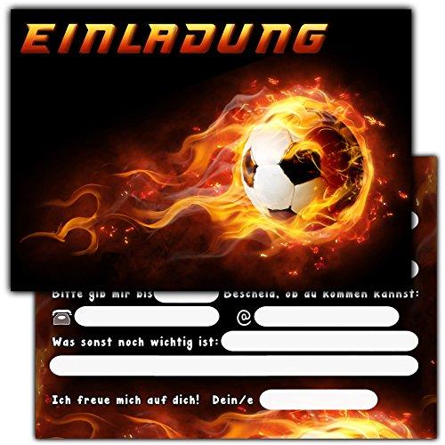 """Sophies Kartenwelt 11 \""""Fußball Einladungskarten Kindergeburtstag / Geburtstagseinladungen Jungen Mädchen Kinder / Einladungen Fussballparty Geburtstag (Schwarz und Rot)"""