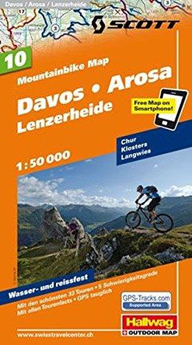 MTB-Karte 10 Davos - Arosa - Lenzerheide 1:50.000: Mountainbike Map (Hallwag Mountainbike-Karten)